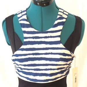 TORI PRAVER Blue & White Stripe Swim Top Bikini